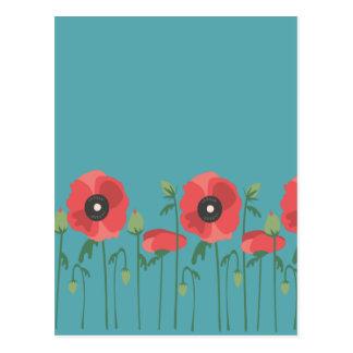 Cartão Postal Papoilas de florescência da primavera