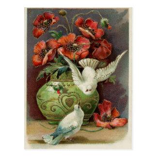 Cartão Postal Papoilas & pássaros do vintage