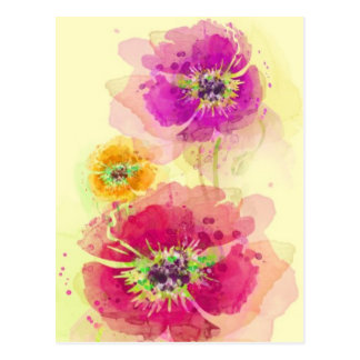 Cartão Postal Papoilas pintadas 2 da aguarela