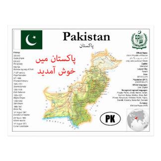 Cartão Postal Paquistão Map Postcard