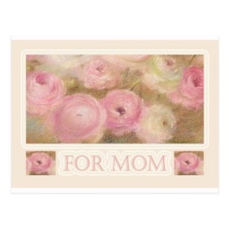 Cartão Postal para a mamã floral cor-de-rosa ilustrado