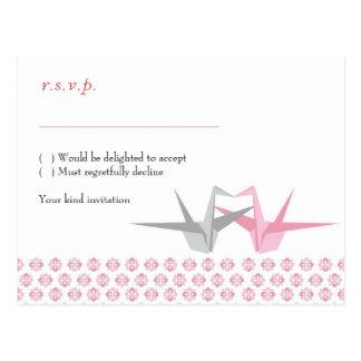 Cartão Postal Para Carrie: Origami Cranes (prata cor-de-rosa)