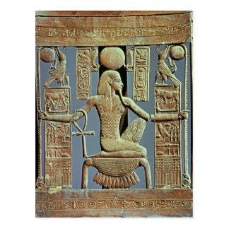 Cartão Postal Para trás de uma cadeira do túmulo de Tutankhamun