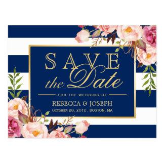 Cartão Postal (para USPS) as listras de azuis marinhos florais