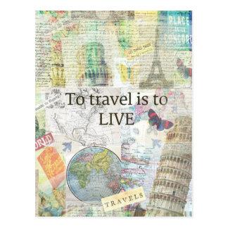 Cartão Postal Para viajar ls a viver citações