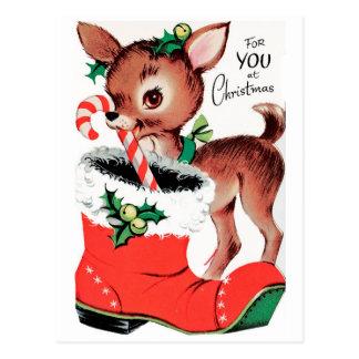 Cartão Postal Para você na rena do Natal