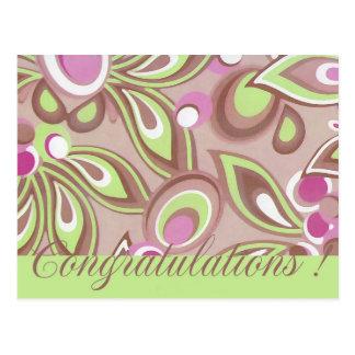Cartão Postal Parabéns verdes & roxos mágicos