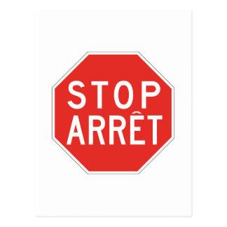Cartão Postal Parada/Arret, sinal de tráfego, Canadá