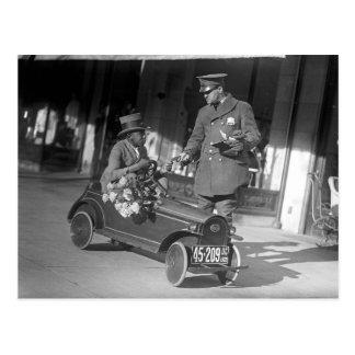 Cartão Postal Parada do tráfego de carro do pedal, 1922