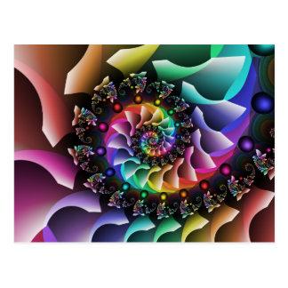 Cartão Postal Parada espiral da cor do Fractal