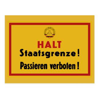 Cartão Postal Parada Staatsgrenze! Muro de Berlim, sinal de