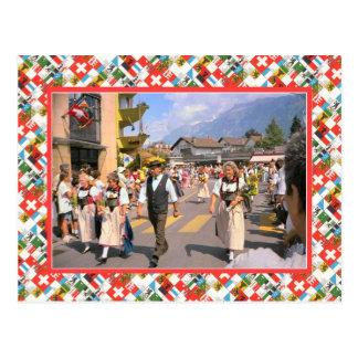 Cartão Postal Parada suíça do dia da nação, Interlaken
