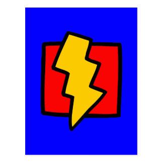 Cartão Postal Parafuso de relâmpago azul e amarelo vermelho