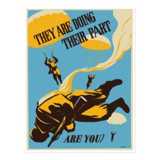 Cartão Postal Paramilitar do vintage de WWII