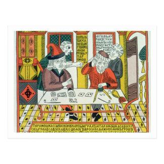 Cartão Postal Paramoshka e Savoska (impressão do woodcut)