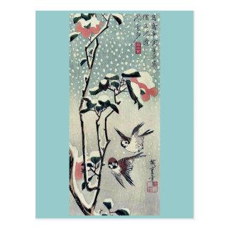Cartão Postal Pardais e camélias na neve por Ando, Hiroshige