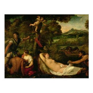 Cartão Postal Pardo Venus ou Jupiter e Antiope