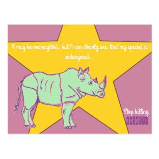 Cartão Postal Pare de matar Rhinos!