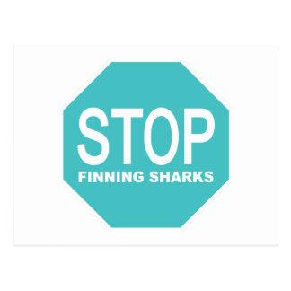 Cartão Postal Pare o sinal dos tubarões de Finning