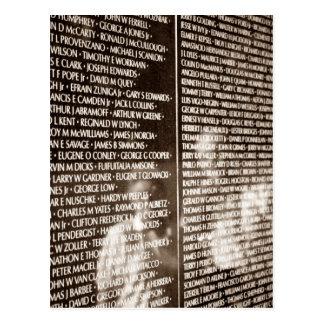Cartão Postal Parede do memorial dos veteranos de Vietnam da