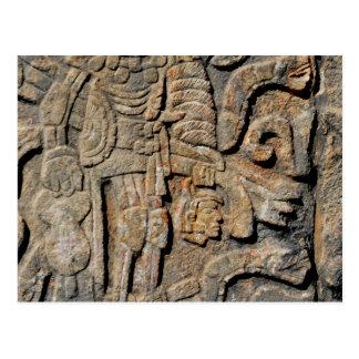Cartão Postal Parede maia de pedra que cinzela de Chichen Itza