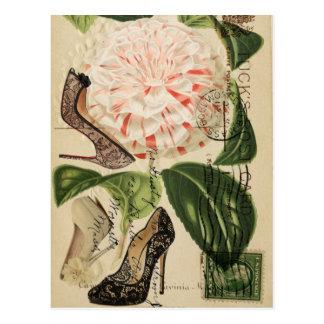 Cartão Postal Paris calça a arte botânica francesa floral