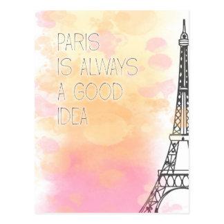 Cartão Postal PARIS is always a good idea, watercolor