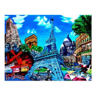 Cartão Postal Paris Mapa Postal
