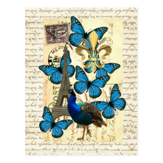 Cartão Postal Paris, pavão e borboletas