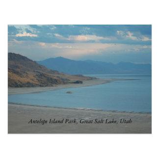 Cartão Postal Parque da ilha do antílope, Great Salt Lake…