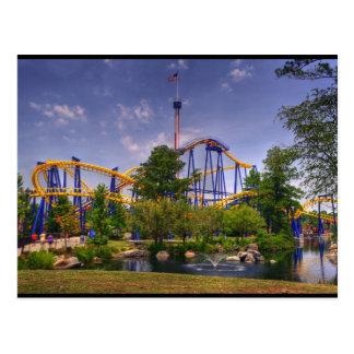 Cartão Postal parque de diversões da montanha russa