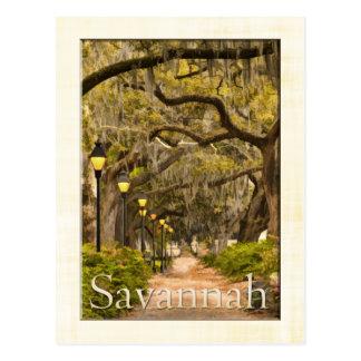 Cartão Postal Parque de Forsyth do vintage - savana, GA