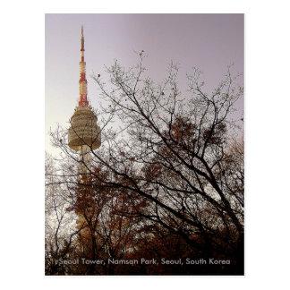 Cartão Postal Parque de Namsan da torre de Seoul, Seoul, Coreia