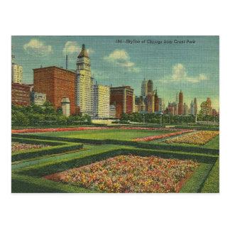 Cartão Postal Parque Illinois de Grant da skyline de Chicago do