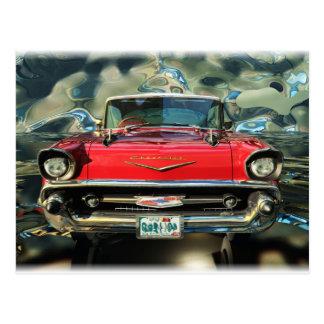 Cartão Postal Parte dianteira de Chevy 57 do cromo