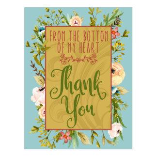 Cartão Postal Parte inferior de meu obrigado floral do coração