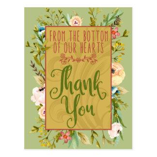 Cartão Postal Parte inferior de nosso obrigado floral dos