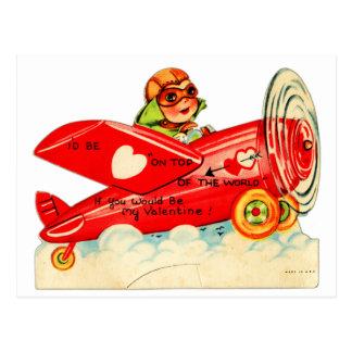 Cartão Postal Parte superior retro dos namorados do vintage do