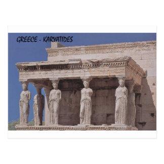 Cartão Postal Partenon-karyatides de Atenas da piscina (St.K)
