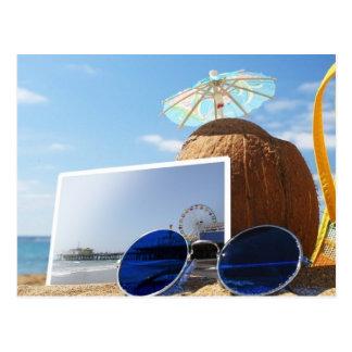 Cartão Postal Partido da praia do verão do cais de Santa Monica