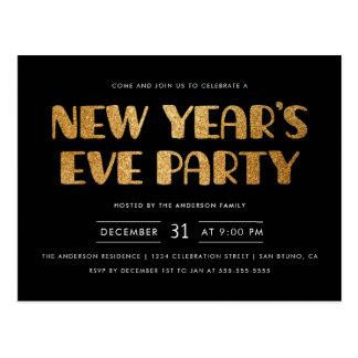 Cartão Postal Partido moderno da véspera de Ano Novo do brilho
