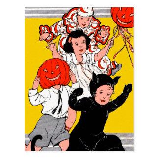 Cartão Postal Partido retro do traje das crianças do vintage do