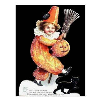 Cartão Postal Partido Sparkling do traje do Dia das Bruxas do