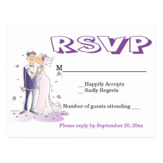 Cartão Postal Partido Wedding roxo dos desenhos animados da
