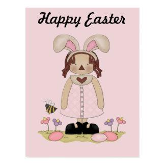 Cartão Postal Páscoa Annie com abelha, Fowers, e ovos