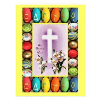 Cartão Postal Páscoa - cruz entre lírios