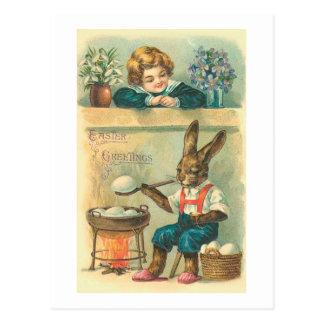Cartão Postal Páscoa de ebulição do vintage dos ovos da páscoa