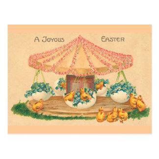 Cartão Postal Páscoa do vintage do carrossel do ovo da páscoa