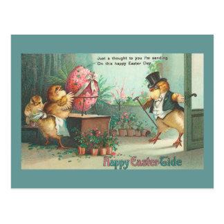 Cartão Postal Páscoa do vintage do pintinho do comprador do ovo