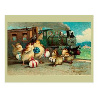 Cartão Postal Páscoa do vintage do russo com trem